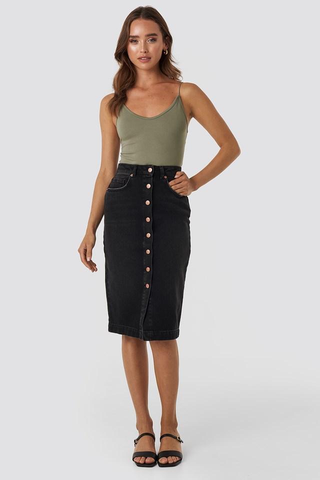 Button Up Denim  Midi Skirt Washed Black