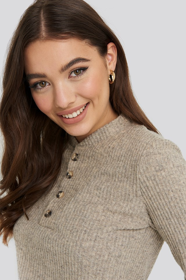 Button Detail Long Sleeve Ribbed Top Beige