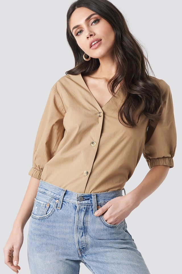 Button Short Sleeve Blouse NA-KD Trend