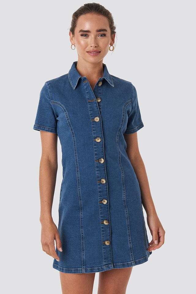 Button Up Denim Mini Dress Mid Blue Wash