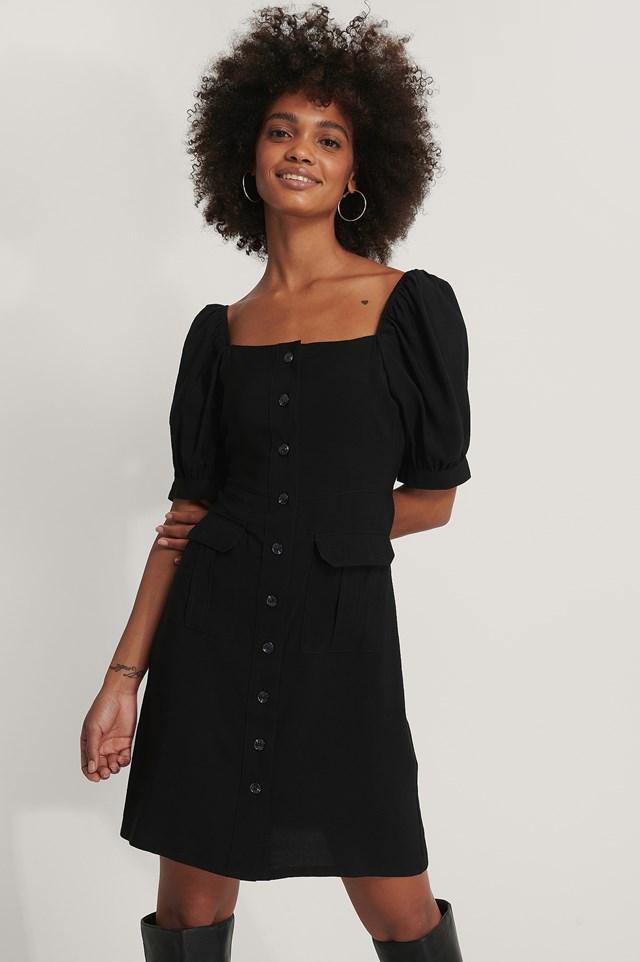 Button Up Short Puff Sleeve Dress Black