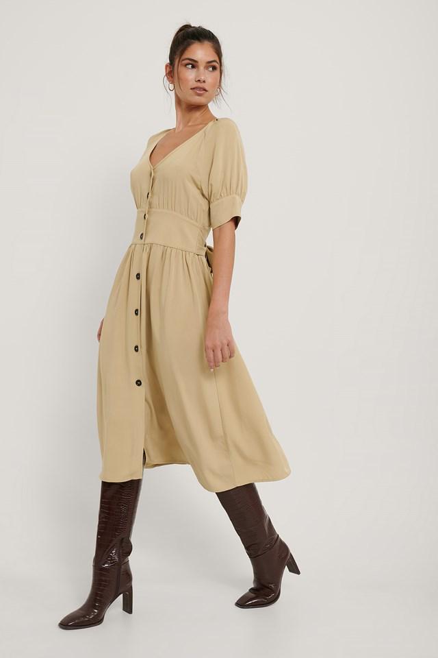 Button Up Short Puff Sleeve Dress Beige