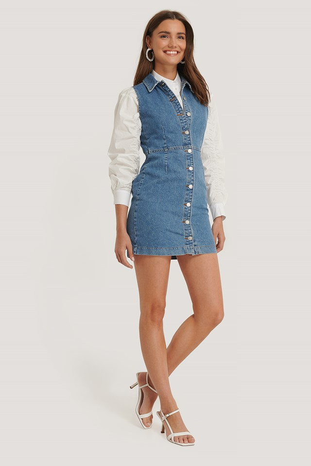 Buttoned Denim Dress Mid Blue