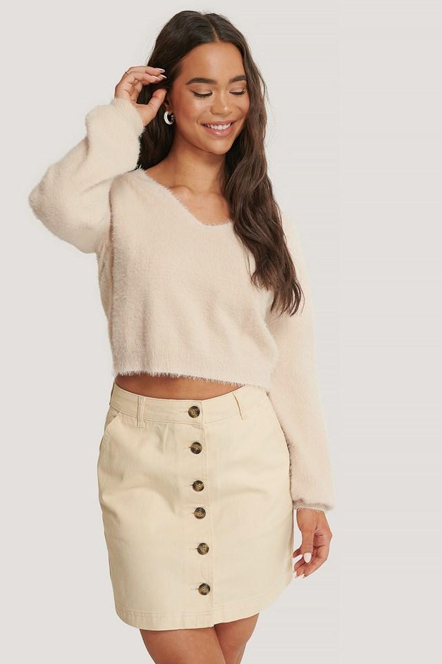 Buttoned Denim Skirt Ecru
