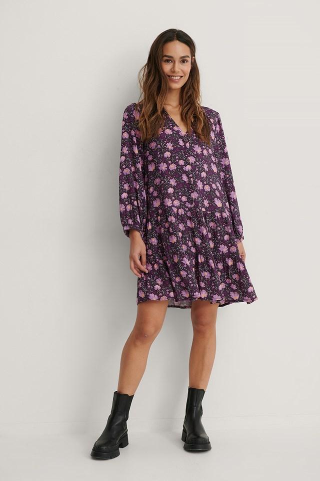 Buttoned Flowy V-Neck Dress Purple Flower