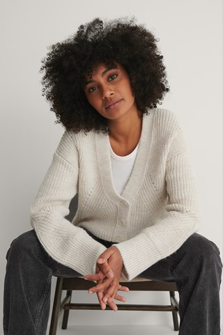 Offwhite Buttoned Knit Cardigan