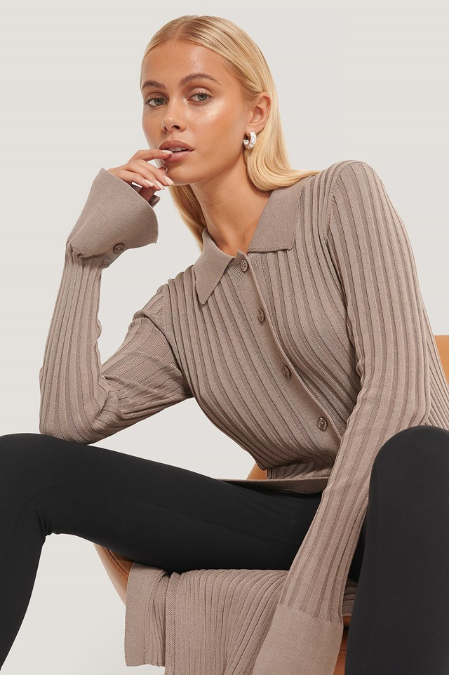 Buttoned Long Knitted Sweater Brown