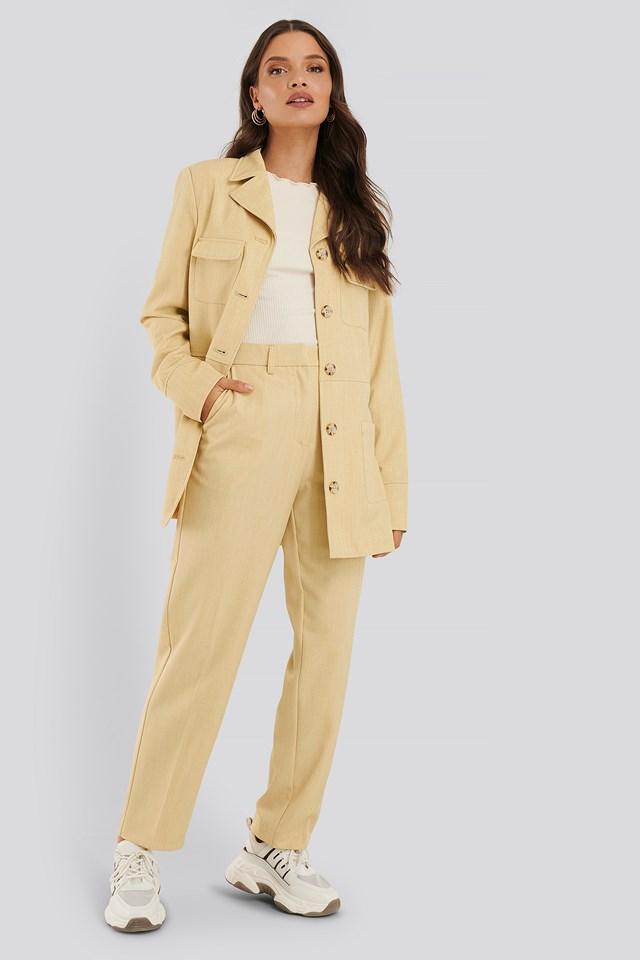 Dusty Light Yellow Buttoned Pocket Blazer
