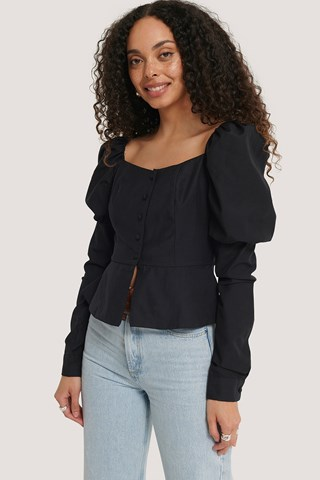 Black Buttoned Puff Sleeve Blouse