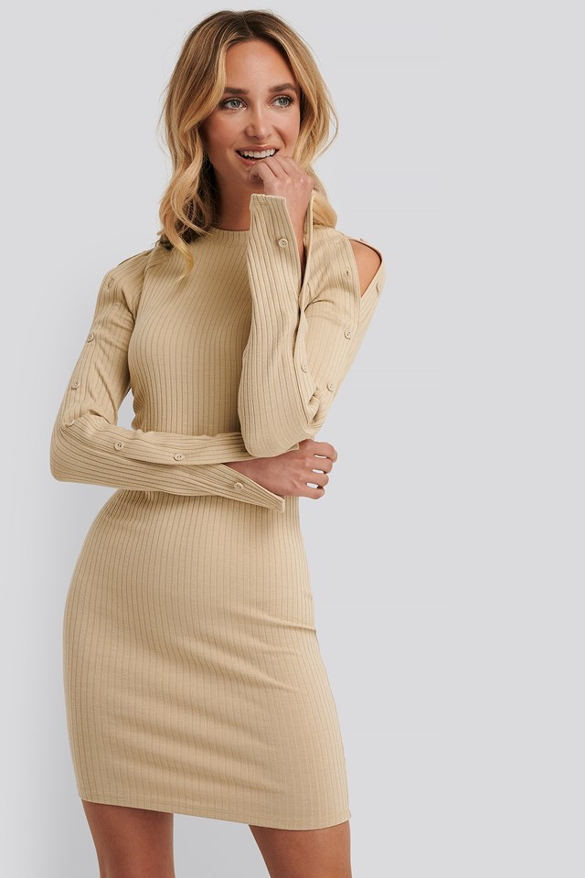 Buttoned Sleeve Rib Dress Beige