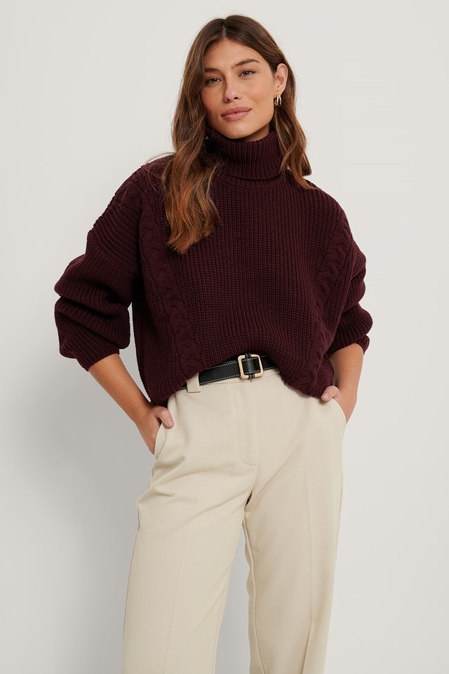 Cable Detail Oversized Knitted Sweater Bordeaux