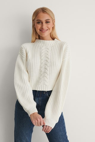 Offwhite Organic Cable Detail Short Knitted Sweater