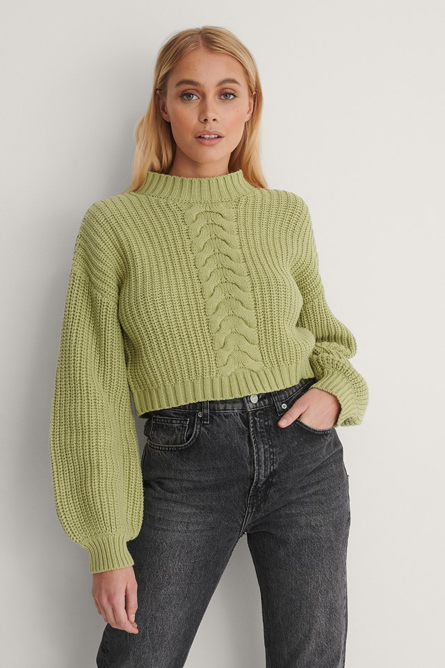 Light Green Organic Cable Detail Short Knitted Sweater