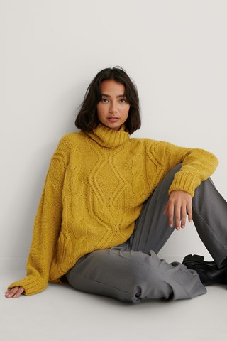Yellow Cable Knit Polo Sweater