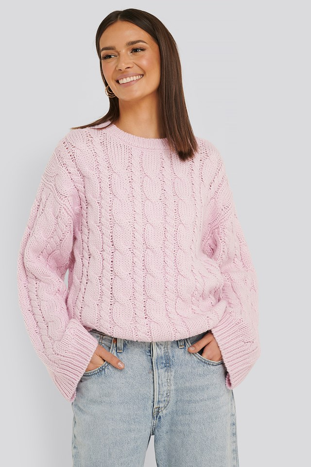 Cable Knitted Round Neck Sweater Dusty Pink