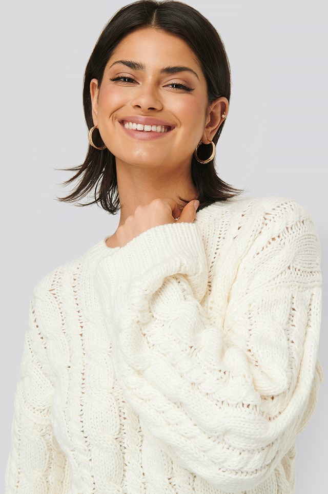 Cable Knitted Round Neck Sweater Offwhite
