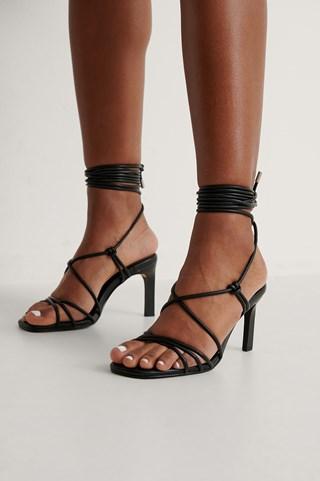 Black Calf Strap Heels