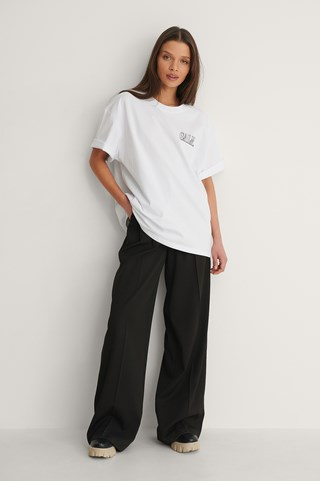 White Organic Calm Printed T-Shirt