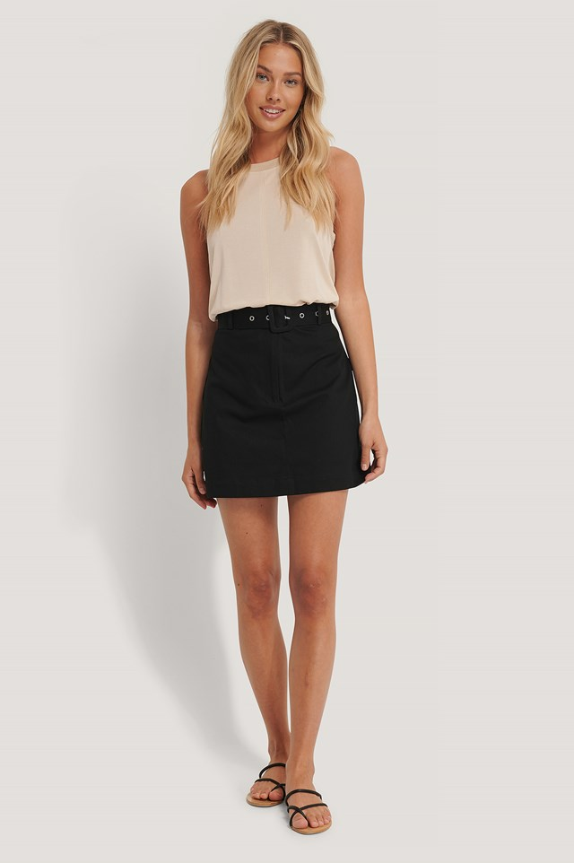 Cargo Belted Cotton Skirt Black