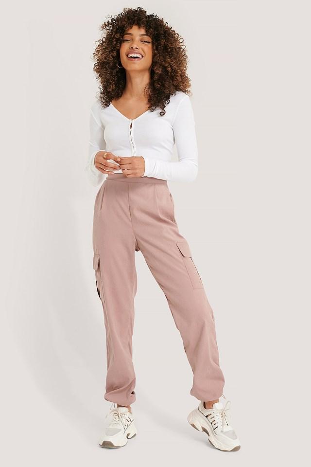 Cargo Drawstring Pants Dusty Pink