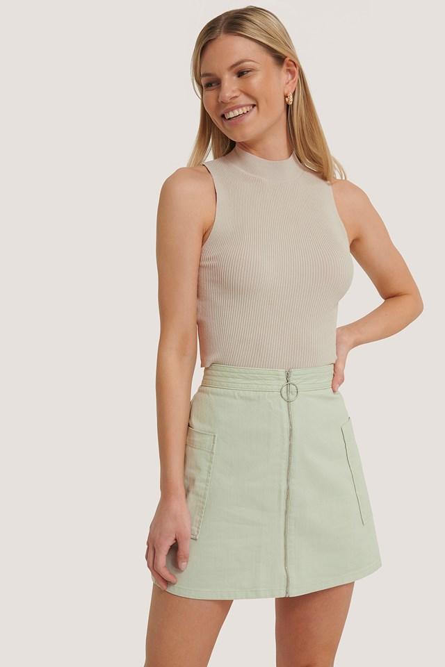 Mint Cargo Mini Skirt