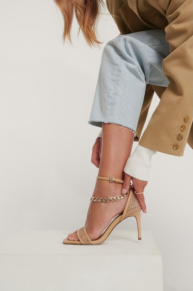 Chain Detailed Mesh Heels Beige