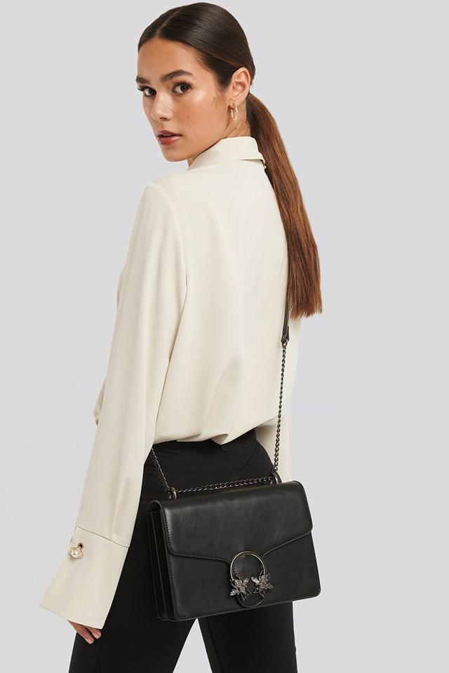 Chain Strap Flap Bag Black