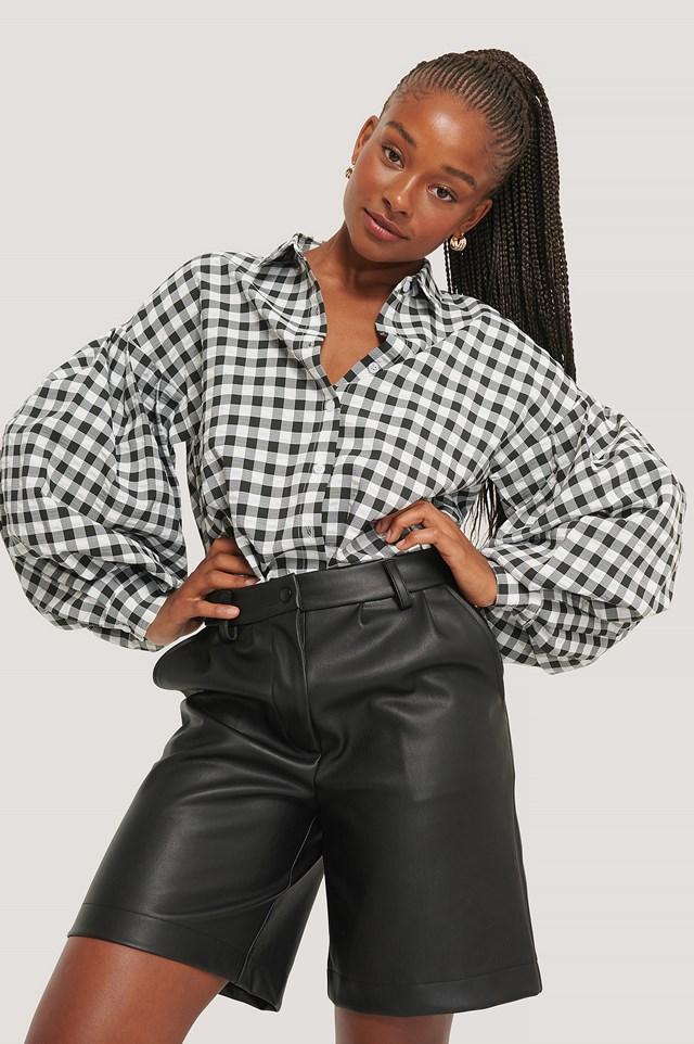 Check Balloon Sleeve Shirt Black/White
