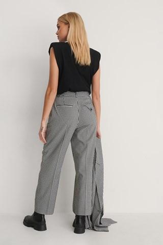 Black/White Check Cropped Pants