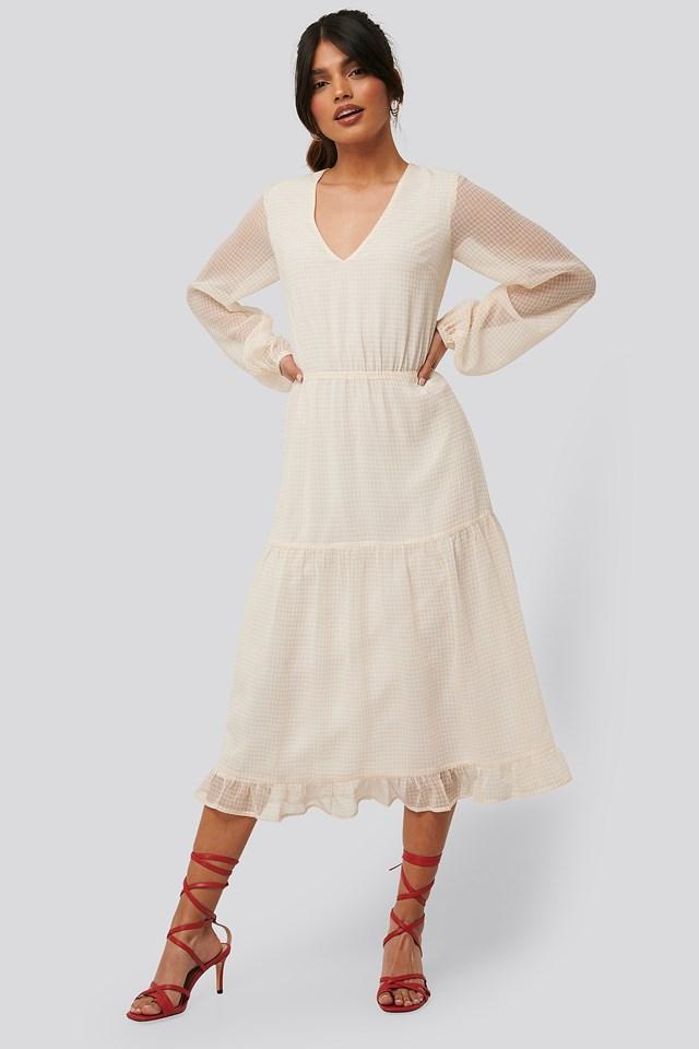 Check Shirred Dress Light Yellow