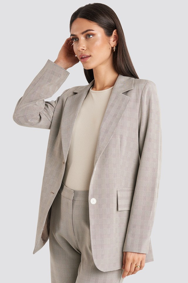Check Straight Fitted Blazer NA-KD Classic