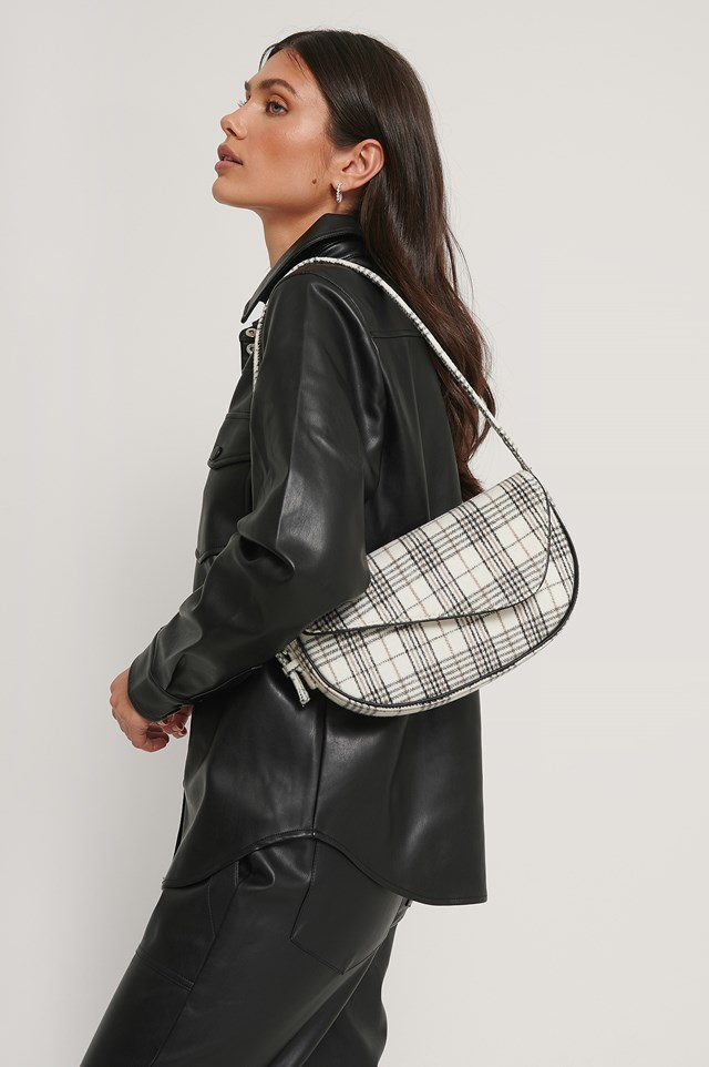 Checkered Asymmetric Shoulder Bag Black/White