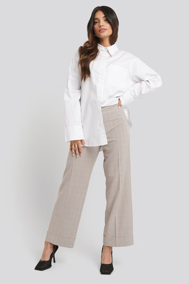 Checkered Folded Wide Suit Pants NA-KD Classic
