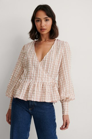 Dusty Pink Checkered Tie Side Blouse
