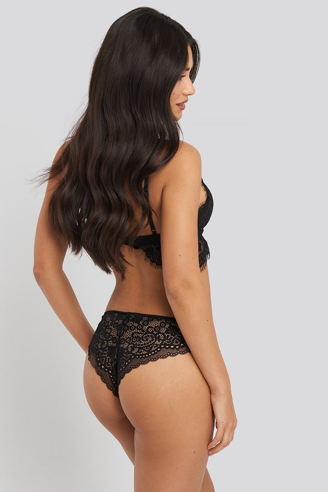 Cheeky Lace Back Micro Panty 2-pack Black