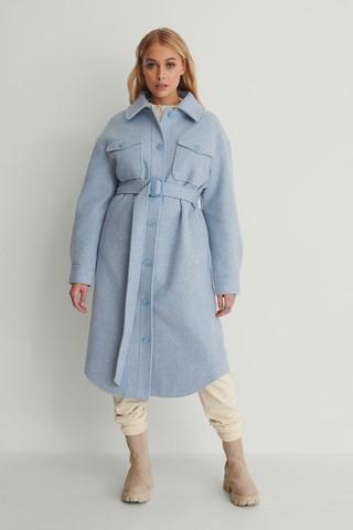 Light Blue Chest Pocket Belted Long Jacket