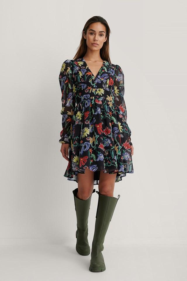 Chiffon Collar Dress Flower Print