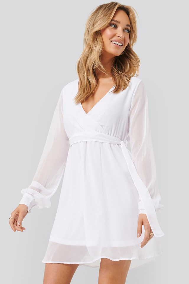 Chiffon Wrap Mini Dress Optical White