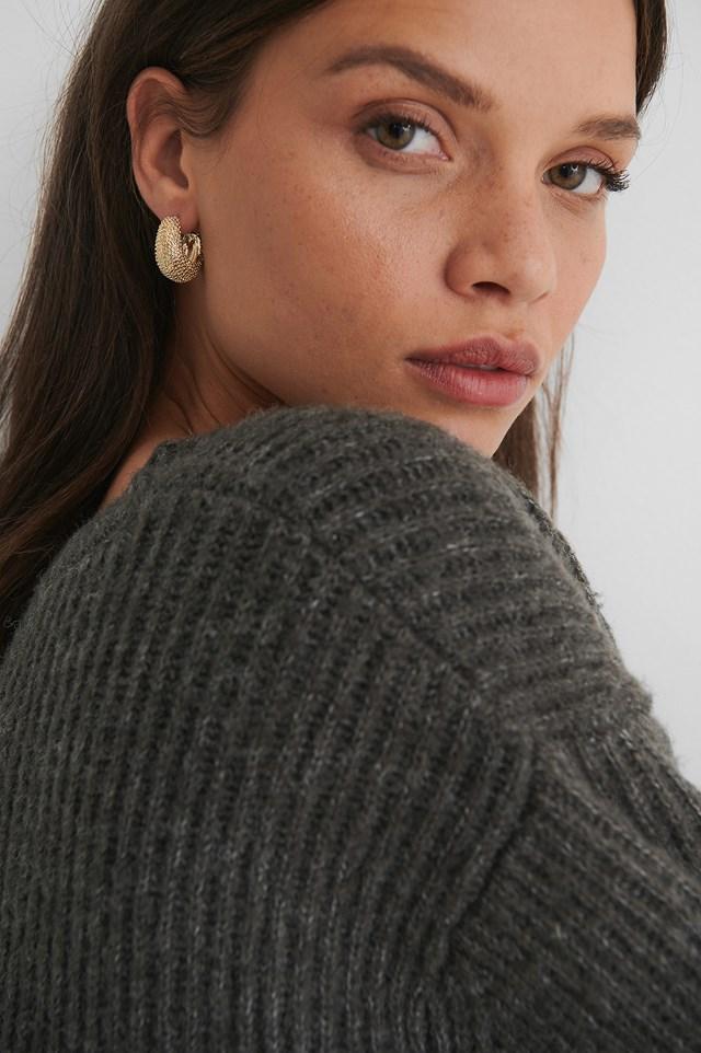 Gold Chubby Sparkle Look Earrings