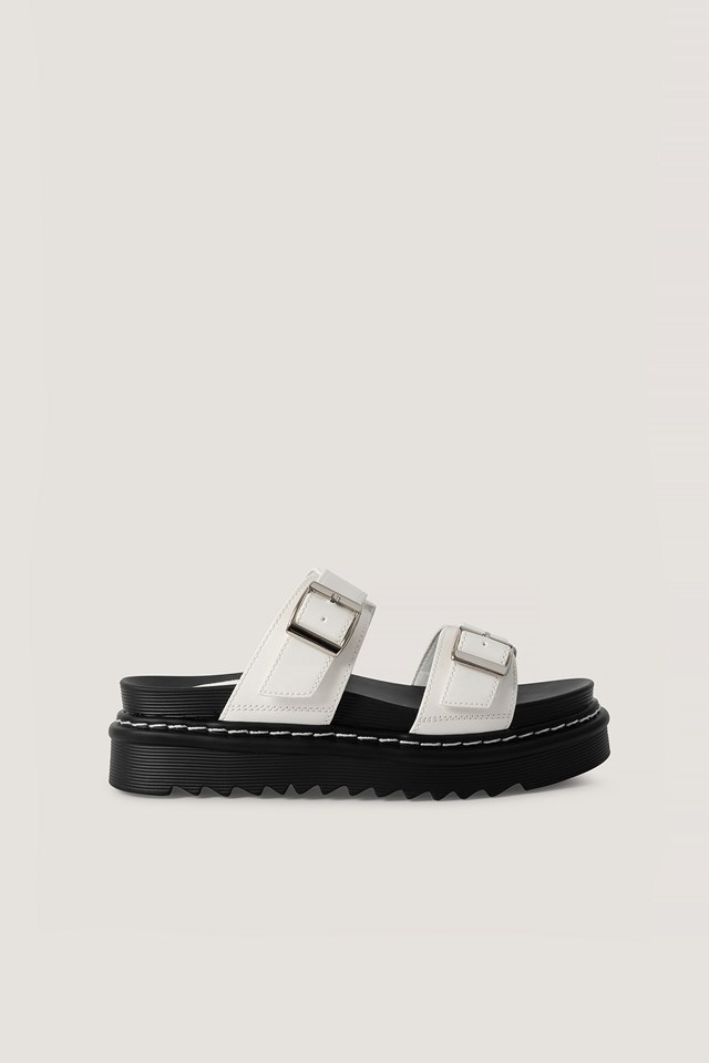 Chunky Buckle Sandals White