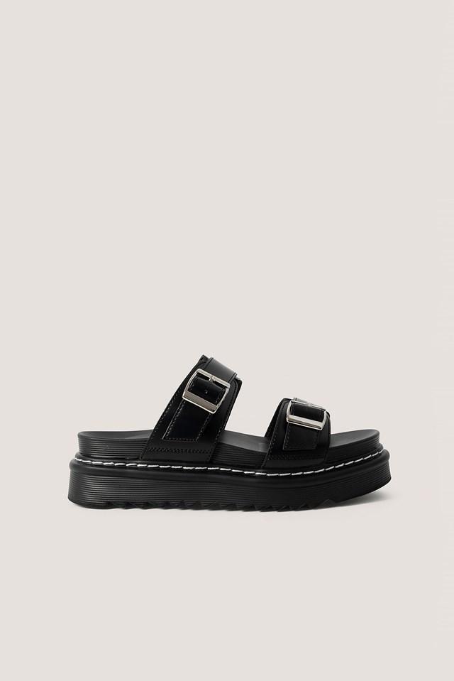 Chunky Buckle Sandals Black