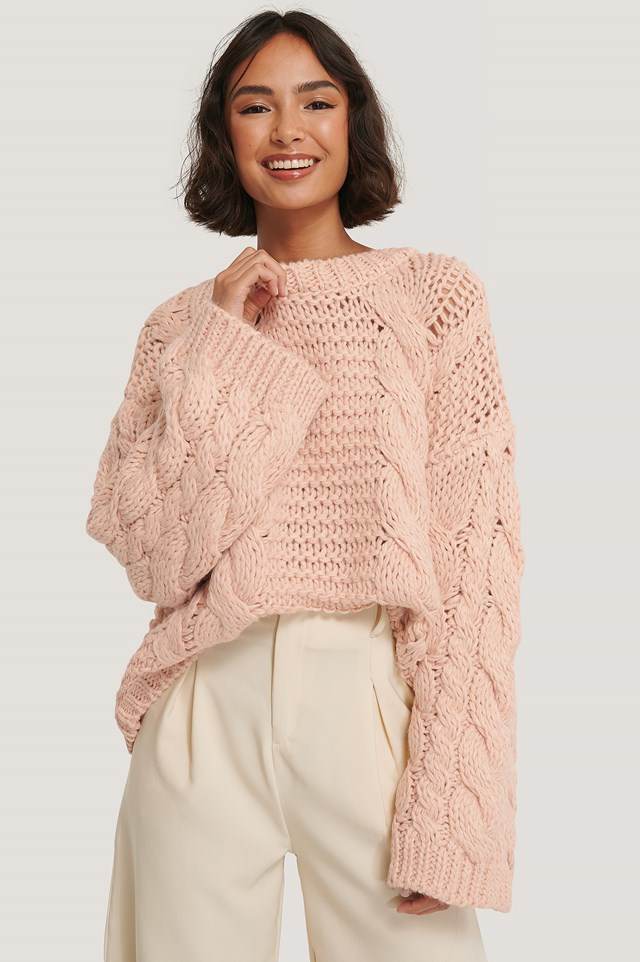 Chunky Cable Knitted Sweater Light Pink