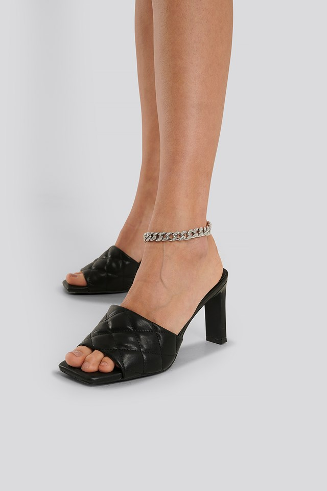 Pointy Sole Strappy Heels Black