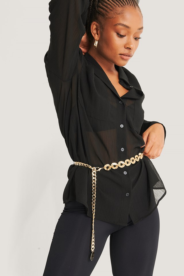 Chunky Coin Detail Chain Belt Gold