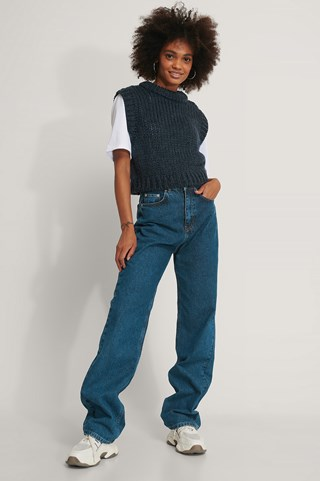 Navy Chunky Knitted Vest