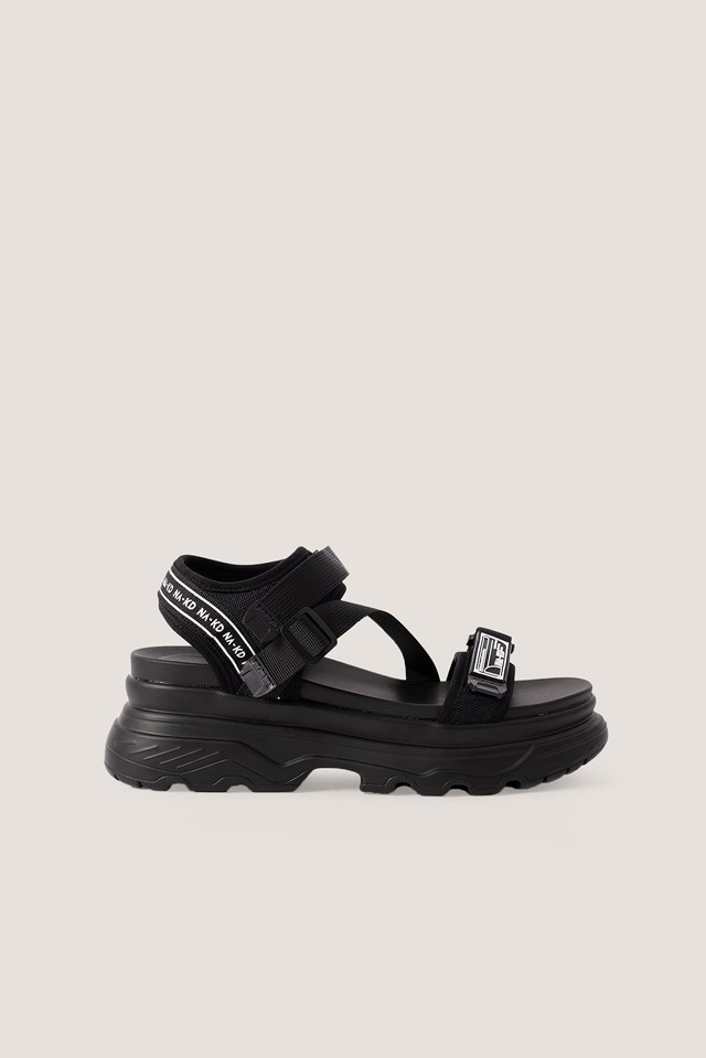 Chunky Velcro Sandals Black