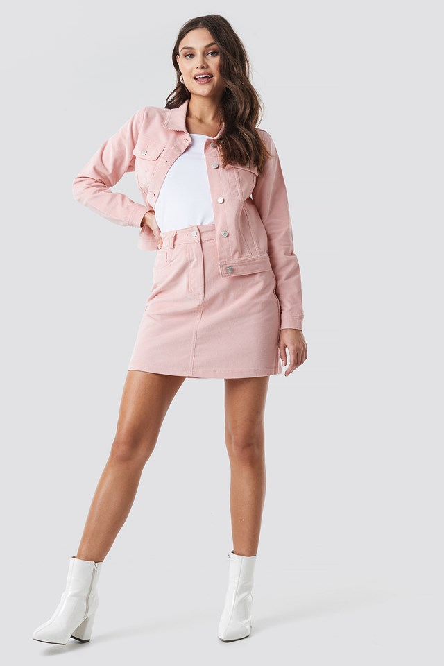 Co-ord Corduroy Mini Skirt Rose Quartz