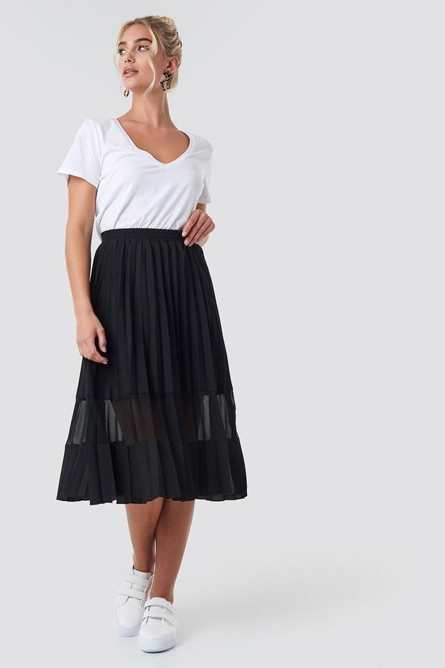Co-ord Pleated Panel Midi Skirt Black