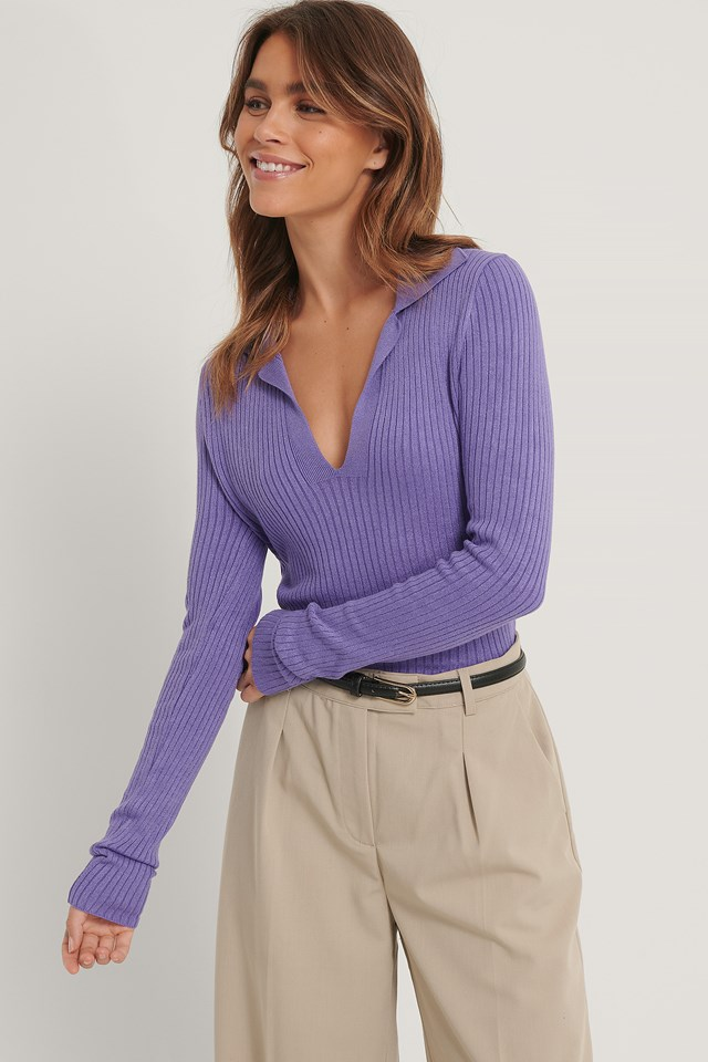 Purple Collar Detail Knitted Sweater