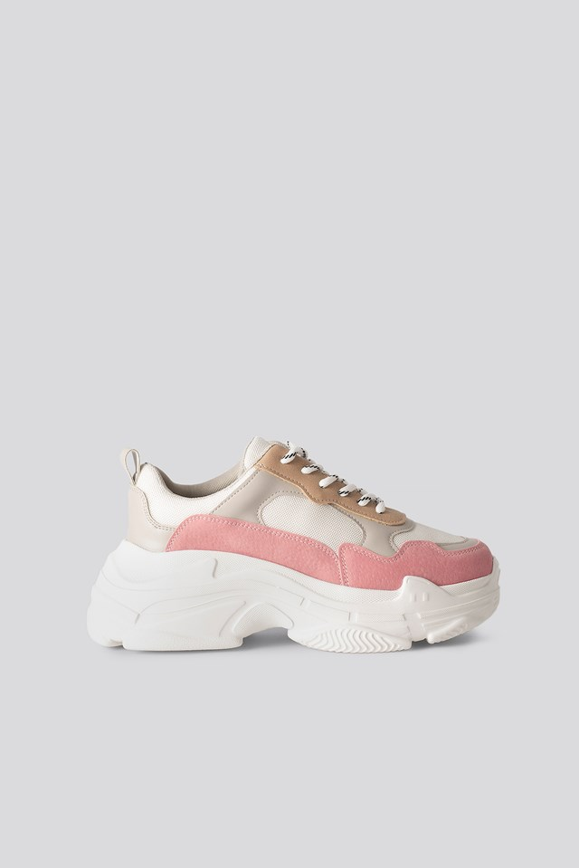 Color Block Trainers Pink/Offwhite